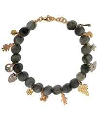 Carolina Bucci 18kt Gold Lucky Charms Dumortierite Beaded Bracelet - Metallic
