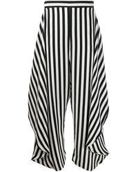 Stella McCartney Pantalon rayé à empiècements drapés - Noir