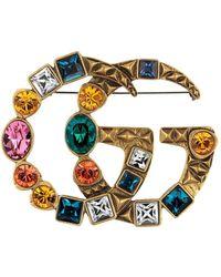 Gucci Crystal Double G Brooch - Multicolor