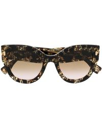 Fendi Солнцезащитные Очки С Логотипом Ff - Коричневый