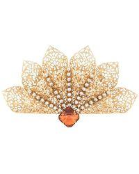 Kenneth Jay Lane Crystal Embellished Broach - Metallic