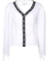 MILLY - Floral Trim Blouse - Lyst