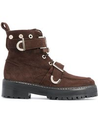 ALEXACHUNG Buckle-embellished Ankle Boots - Brown
