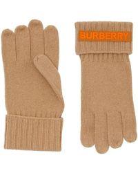 Burberry Cashmere Logo Appliqué Gloves - Multicolour