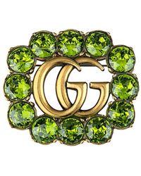 Gucci Kristallen Broche - Groen