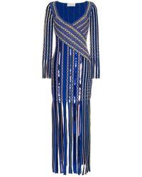 Peter Pilotto Vestido con flecos en jacquard - Azul