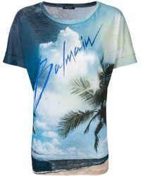 Balmain T-shirt à logo - Bleu