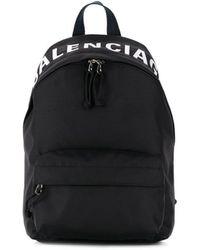 Balenciaga Wheel Logo Print Backpack - Black