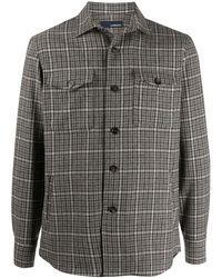 Lardini チェック シャツジャケット - ブラウン
