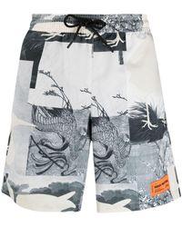 Heron Preston Hp Cutout Swimming Shorts - Grey