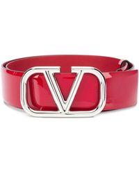Valentino Garavani Лакированный Ремень С Логотипом Vlogo - Красный