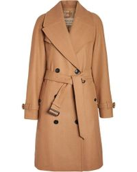 Burberry - Herringbone Wool Cashmere Blend Trench Coat - Lyst