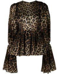 Christian Siriano - Leopard Print Bell Sleeve Blouse - Lyst
