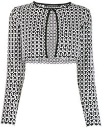 Antonino Valenti Geometric Cropped Cardigan - White