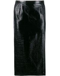 N°21 Crinkled-effect Pencil Skirt - Black