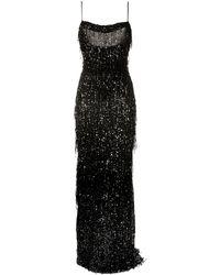 Talbot Runhof Fringed Sequin Sleeveless Gown - Black