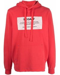 Ecoalf Graphic-print Cotton Hoodie - Red