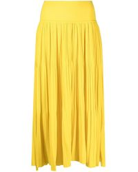 SMINFINITY Pleated Slip-on Knitted Skirt - Yellow