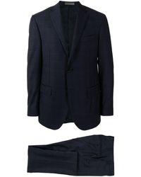 Corneliani Academy チェック スーツ - ブルー