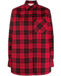 Mulberry Plaid Print Oversized Shirt - Red