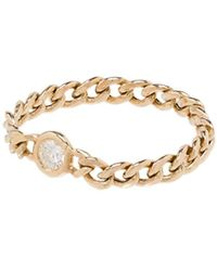 Zoe Chicco 14kt Yellow Gold Small Curb Chain Ring - Multicolour