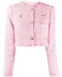 BROGNANO クロップド ツイードジャケット - ピンク
