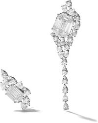 AS29 - 18kt White Gold Venus Duplex Illusion 3 Lines Long Diamond Earrings - Lyst