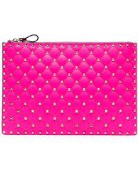 Valentino VAL ROCKSTUD LRG FLURO POUCH - Rose