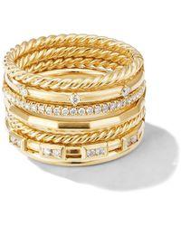 David Yurman 18kt Yellow Gold Cable Stax Diamond Ring - Metallic
