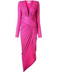 Alexandre Vauthier ロングスリーブ ドレープドレス - ピンク