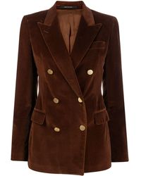 Tagliatore Double-breasted Fitted Blazer - Brown
