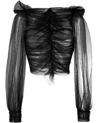 BROGNANO チュール ブラウス - ブラック