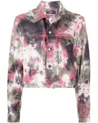 Amiri Tie-dye Print Denim Trucker Jacket - Pink