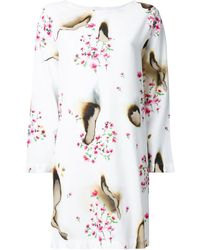 Moschino Burned Effect Floral Dress - White
