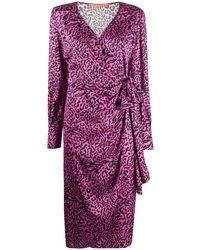 ANDAMANE Carly Leopard-print Satin Wrap Dress - Purple