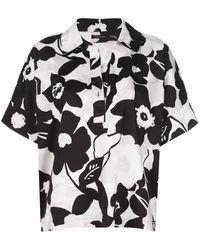 Natori Рубашка Свободного Кроя С Цветочным Принтом - Черный