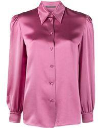 Alberta Ferretti シルクサテン シャツ - ピンク