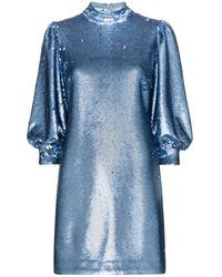 Ganni スパンコール ミニドレス - ブルー
