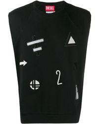 Diesel Red Tag Trägershirt mit Patches - Schwarz