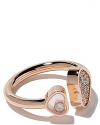 Chopard 18kt Rose Gold Happy Hearts Diamond Ring - Multicolor