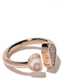 Chopard 18kt Rose Gold Happy Hearts Diamond Ring - Multicolour