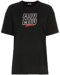 Miu Miu Tour ロゴ エンブロイダリー Tシャツ - ブラック