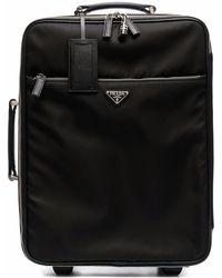 Prada Koffer mit Logo-Schild - Schwarz
