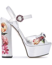 Dolce & Gabbana フローラルプリント サンダル - メタリック
