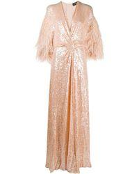 Jenny Packham Платье С Пайетками И Перьями - Оранжевый