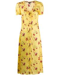 R13 Floral Midi Dress - Yellow