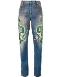 Gucci Jeans Con Draghi Ricamati - Blue