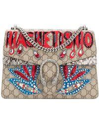 6f0ebc5ff Gucci Dionysus Medium Embellished Appliquéd Coated-canvas And Suede ...
