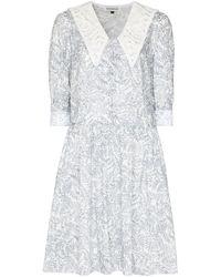 Masterpeace Lace Collar Floral Dress - Blue