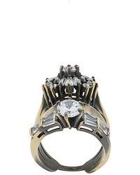 Iosselliani White Eclipse Stacked Ring - Metallic